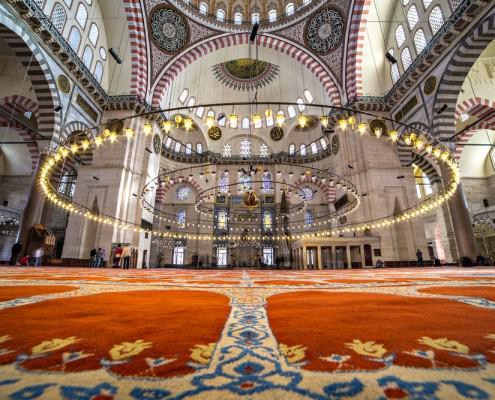 Interior of the Suleymaniye Mosque, Istanbul