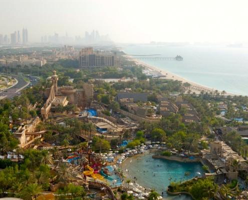 The Wild Wadi Waterpark seen from Jumeirah Beach Hotel