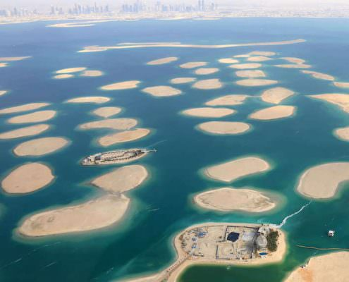 The World Islands, aerial view. Dubai, UAE.
