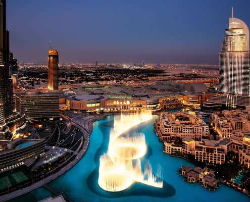 The fountain seen from Burj Khalifa - the tallest building in the world
