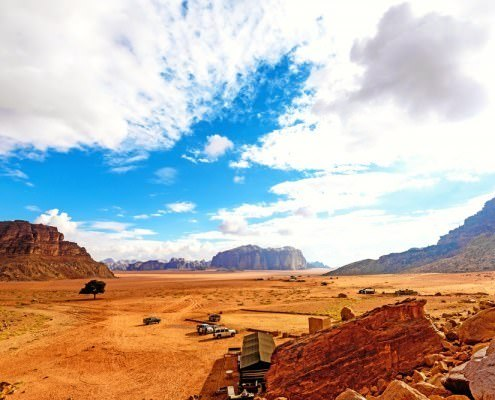 The scenic desert in Wadi Rum, Jordan viewed from the Lawrence's Spring