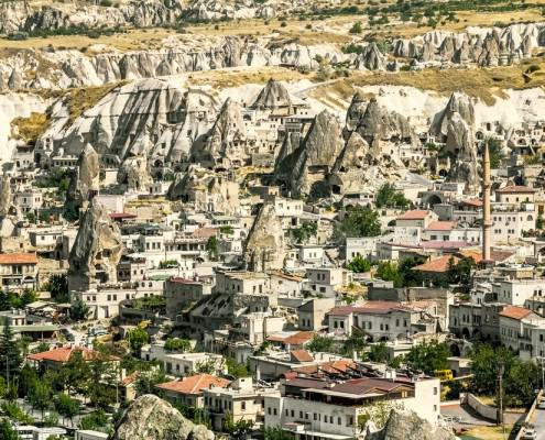 The town of Goreme in Cappadocia, the tourism capital of Turkey