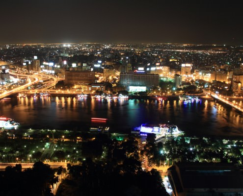View of Cairo from the Cairo Tower at night