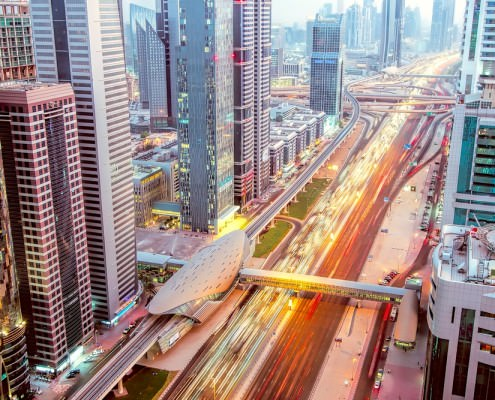 View of Sheikh Zayed Road and skyscrapers, Dubai