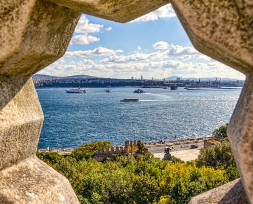 View of the Bosporus through stone rosette at the Topkapi Palace in Istanbul