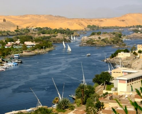View of the Nile from Aswan with the Mausoleum of Aga Khan in the upper left corner