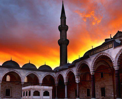 View of the majestic Suleiman Mosque at sunset