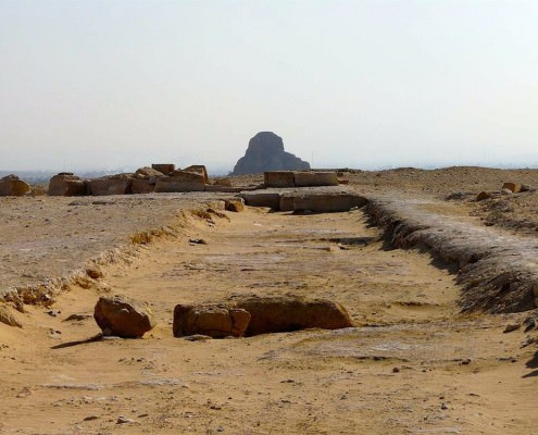 View of the remains of the Black Pyramid Amenhemat III from the Bent Pyramid