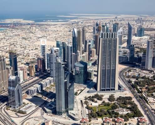 View on Dubai downtown seen from Burj Khalifa