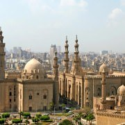 View over Islamic Cairo and the Mosque of Sultan Hassan