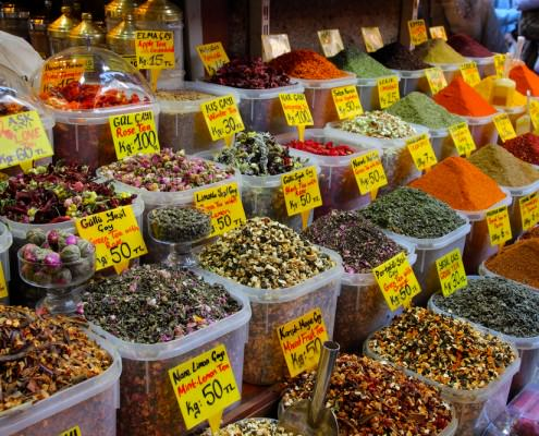 Displays of products on offer in the Spice Market in Istanbul Turkey