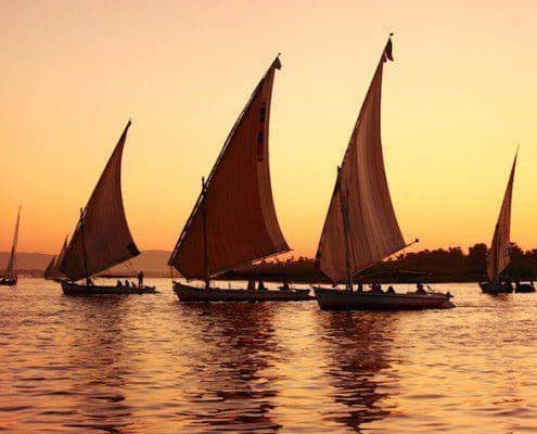 Feluccas at sunset, Nile River, Egypt