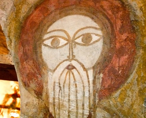 Fresco with the face of St. Paul in the Coptic Christian fresco with St. Paul face in Coptic Christian Monastery of St. Paul