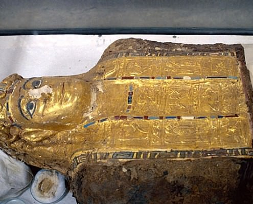 Mummy found in the Valley of the Golden Mummies, now in el-Bawiti museum, el-Bahriya