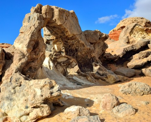 Natural stone arch in the desert, Crystal Mountain