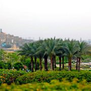 Panorama of The Mosque of Muhammad Ali and Azhar park in Cairo, Egypt