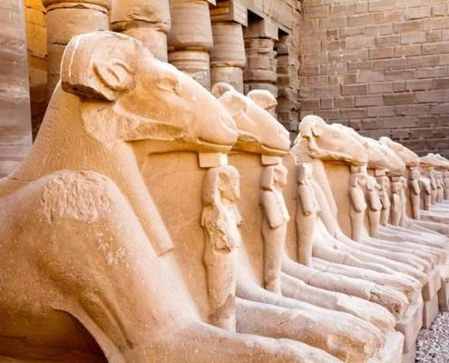 Ram headed sphinxes in Karnak Temple, Luxor