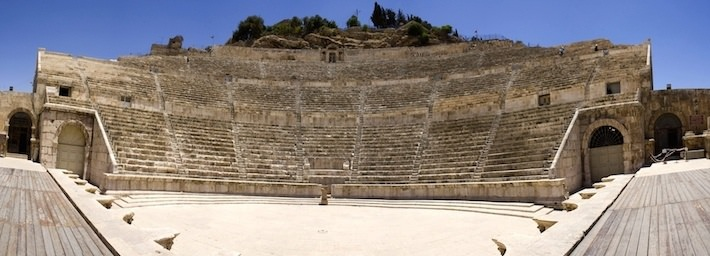 Spherical panoramic view of the ancient Roman Theater in Amman