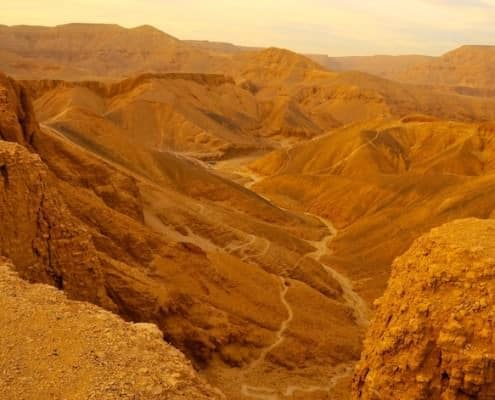 Sunset over the Valley of the Kings at Thebes in Egypt