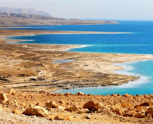 View of the Dead Sea coastline, Jordan