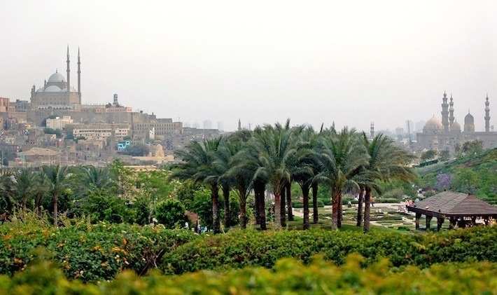 History of Cairo, Egypt - Panorama of The Mosque of Muhammad Ali and Azhar Park
