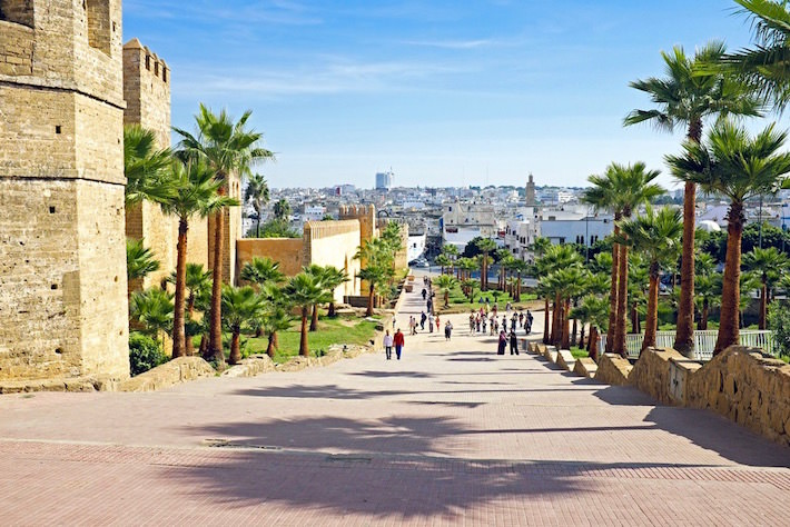 Ancient city wall and view of Rabat, Morocco