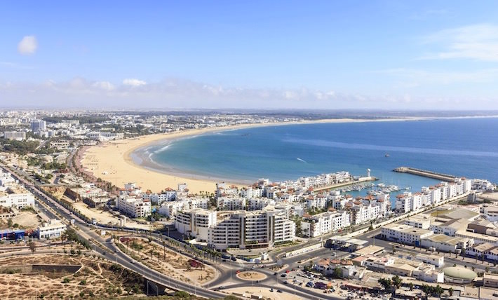 View of the beach and the marina of Agadir