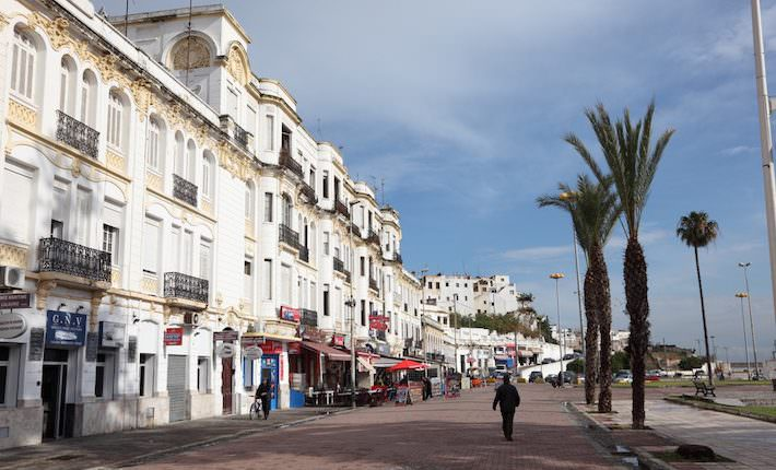 Tangier Attractions - Alley with palm trees and art deco buildings in the old town of Tangier