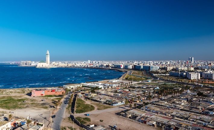 Attractions in Casablanca - City panorama. Casablanca, Morocco. Africa