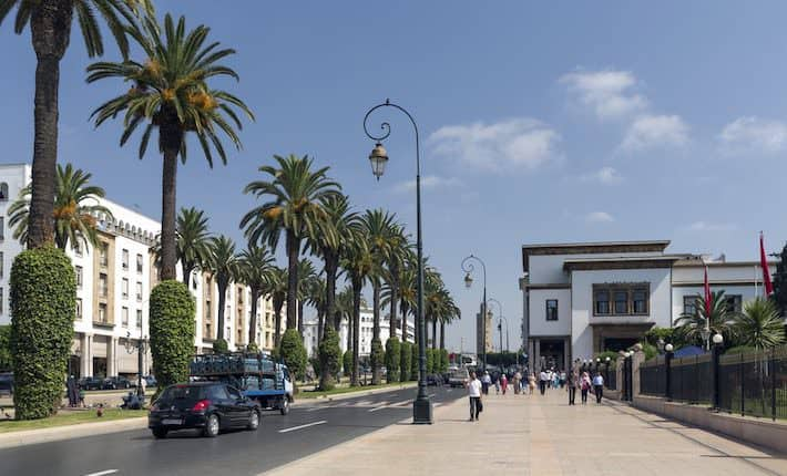 The new part of the city as on July 23, 2014 in Rabat, Morocco. The city is located on the Atlantic Ocean at the mouth of the river Bou Regreg Rabat, Morocco