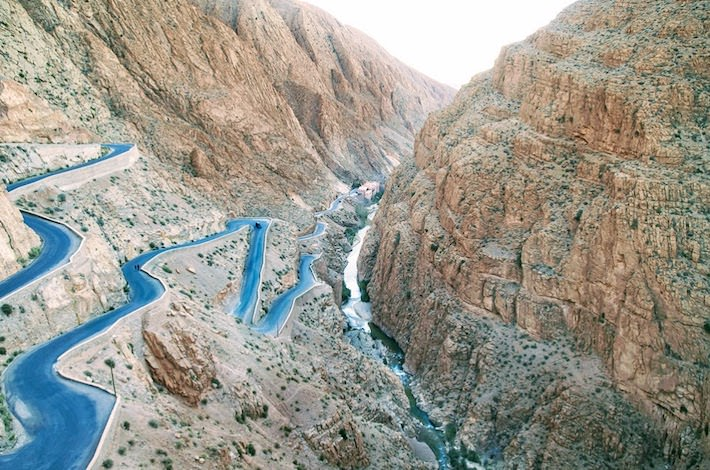 Tizi-n'Test Pass - Dades Gorges, High Atlas, Morocco. Road view and sunset