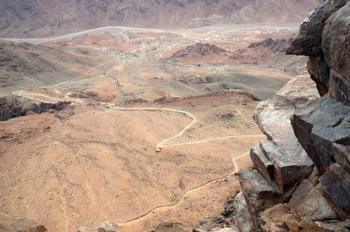 Mount Sinai (aka Moses Mountain). The road to climb seen from the top