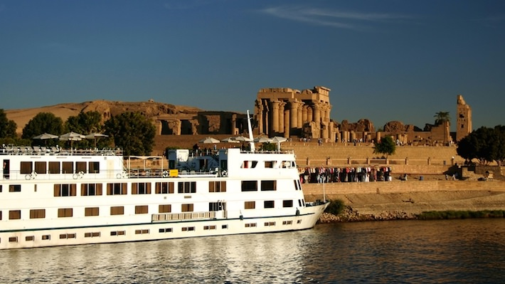 What to See Along the Nile River - A Nile Cruiser docked at the Temple of Kom Ombo on the River Nile