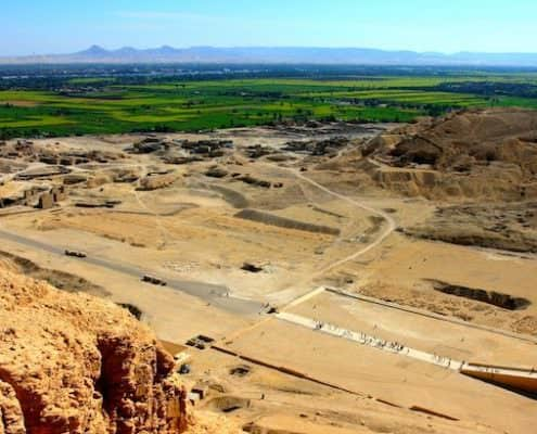5 Day Egypt Tours - View to Nile Valley from Gurna hills, Hatshepsut's Temple. Luxor West Bank