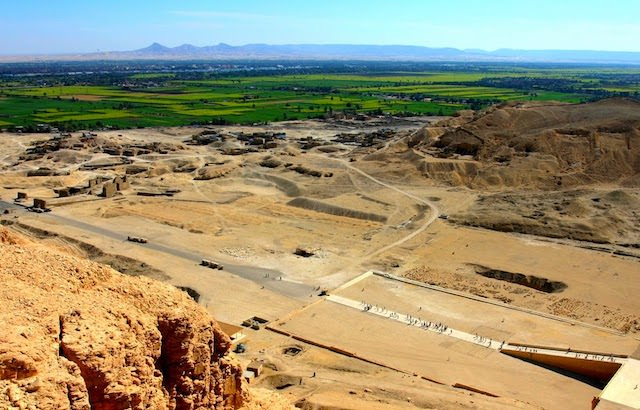 5 Day Egypt Tours (5 Day Egypt Itinerary) - View to Nile Valley from Gurna hills, Hatshepsut's Temple. Luxor West Bank