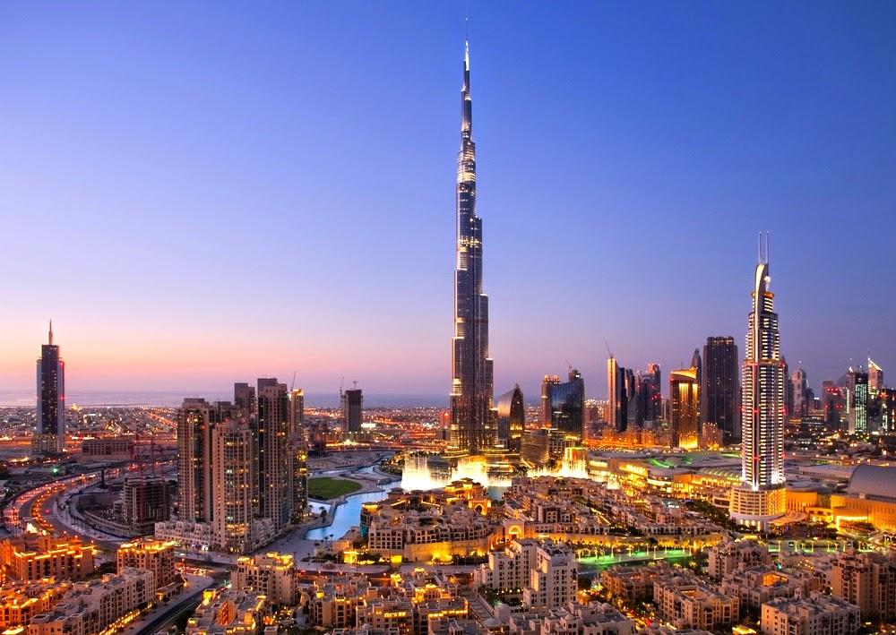 The Burj Khalifa, the tallest skyscraper in the world at 829.8m
