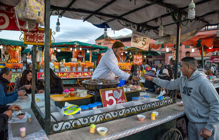 Boiled snails stand at the Jemaa el-Fnaa square in the medina quarter of Marrakesh