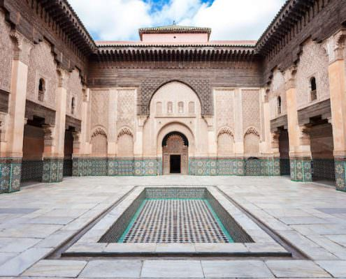 Courtyard of Ben Youssef Mosque in Marrakech, Morocco