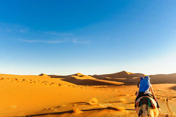 Dunes in the desert of Morocco at M'hamid, Marrakech