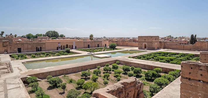 Panoramic view of El Badi Palace. Marrakech