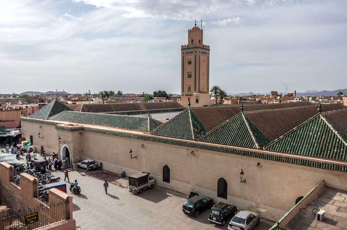 Roof and minaret of Mosque of Ben Youssef, view from neighbouring roof
