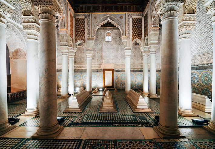 Saadian Tombs - The mausoleum comprises the interments of about sixty members of the Saadi Dynasty that originated in the valley of the Draa River