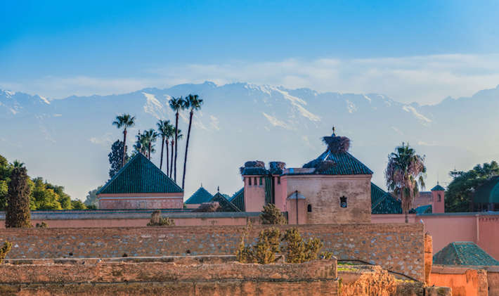 The incomparable El Badi Palace with Atlas mountains in the background. Commissioned by Saadian sultan Ahmad al-Mansur.