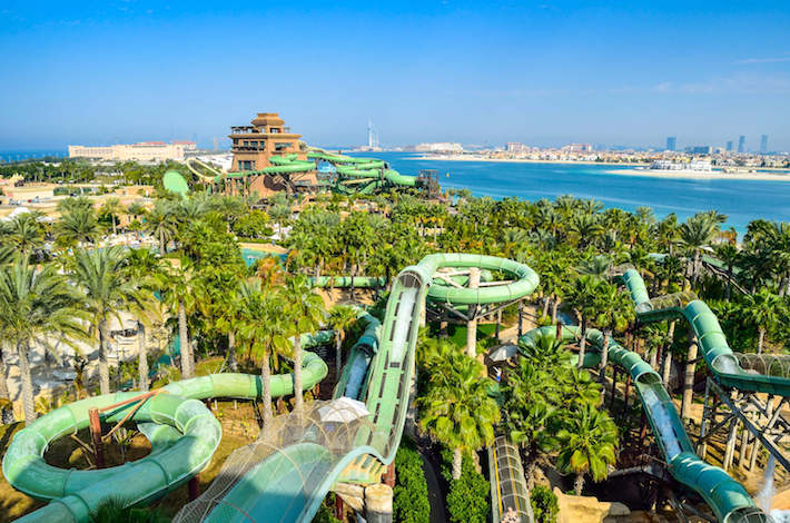 Aquaventure Waterpark in Atlantis. The Palm is the best Water Park in Dubai, packed with world first, record breaking rides