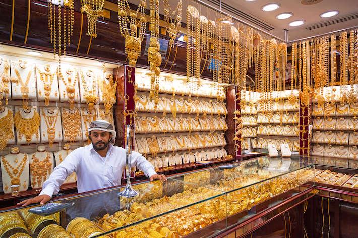 Gold on the famous -Golden souk- in Dubai Deira market
