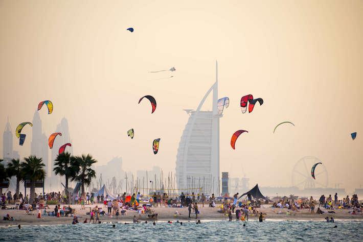 Kite beach in Jumeirah, Dubai, United Arab Emirates.