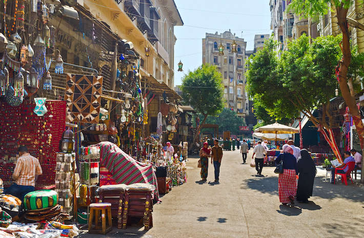 The Khan El-Khalili souq is a great place to enjoy traditional Egyptian crafts, buy souvenirs and bargain with local sellers