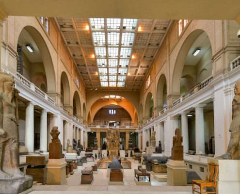 Wide angle interior view of Egyptian Museum in Cairo