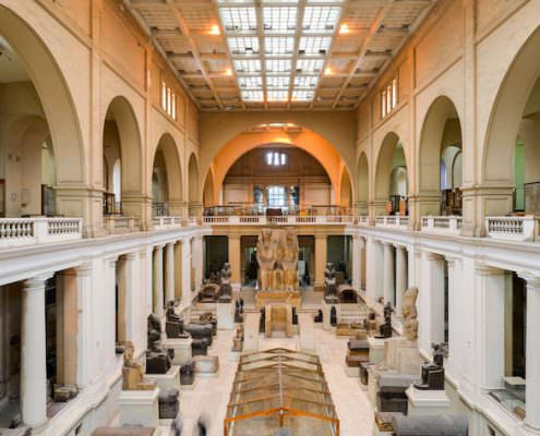 Wide angle interior view of Egyptian Museum in Cairo from the first floor
