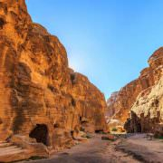 Caved buildings of Little Petra in Siq al-Barid, Wadi Musa, Jordan